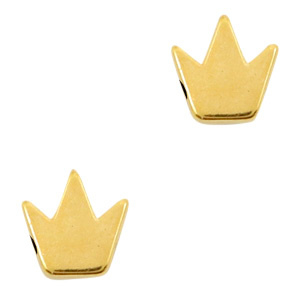 DQ metalen kralen Kroon Goud (nikkelvrij) per stuk  66242