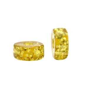 Polaris kralen disc 6mm Glitter Olive oil yellow 69963 per stuk