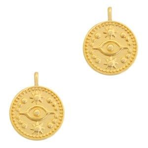 Metaal Bedel DQ eye 15mm Goud (nikkelvrij) 66984 per stuk