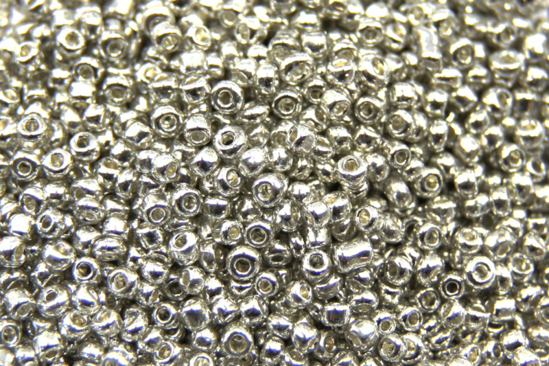 Rocailles electroplated glas, 2mm, Zilver 5 gram