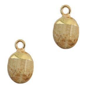 Hangers van natuursteen Light brown-gold per stuk