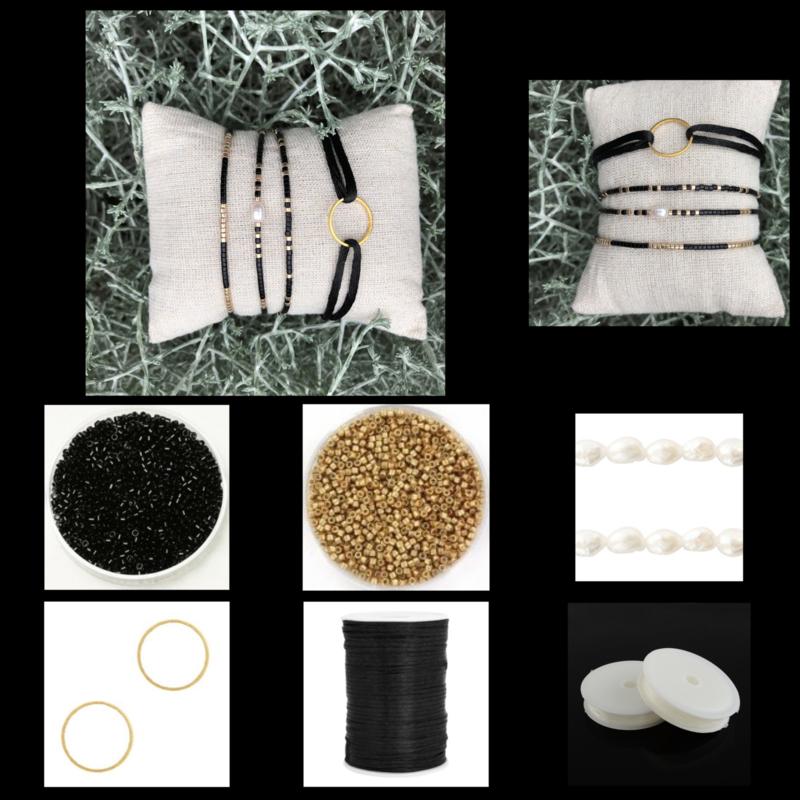 DIY Sieradenpakket Miyuki Delica's Gold Black 2mm