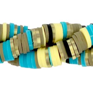 Kralen Katsuki 4mm Greige-blue-yellow mix 360 st  per streng
