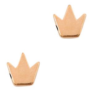 DQ metalen kralen Kroon Rosé  (nikkelvrij) per stuk  66241