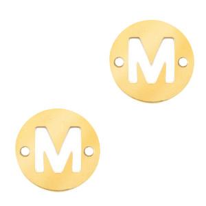 Bedel van  (RVS) 10mm initial coin M Goud tussenzetsel