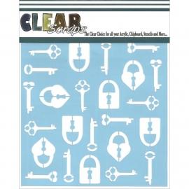Clear Scraps Stencil Keys n Locks / Sleutels en Sloten 15 x 15 cm