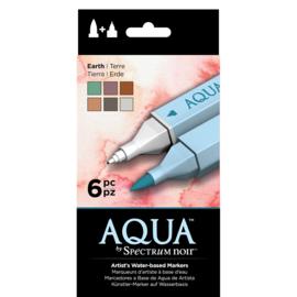 Spectrum Noir Aqua Markers 6 in een pak - Earth (Aarde tinten)