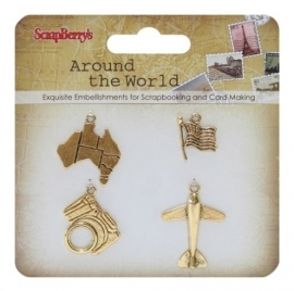 ScrapBerry's - Metal charms set Around the World 1, 4 stuks