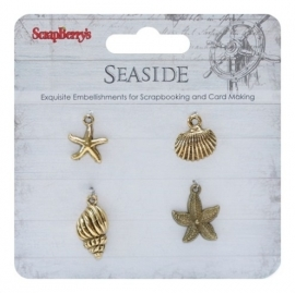 ScrapBerry's - Metal charms set SeaSide 2, 4 stuks