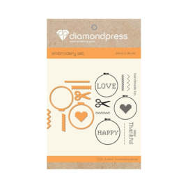 Diamond Press stempel en snijmal Set - Handmade love