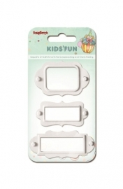 ScrapBerry's - Set of metal frames, Kids' fun, 3 stuks wit