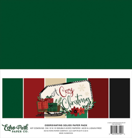 Echo Park - A Cozy Christmas - 12x12 Inch Coordinating Solids Paper Pack