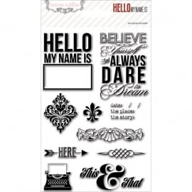 Teresa Collins - Hello My Name Is - Clear Stamps ca. 15 x 10 cm