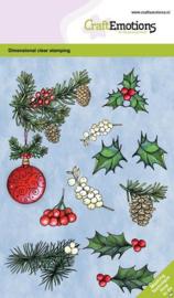 CraftEmotions - clearstamps A6 - Kerstbal met takjes en besjes GB - Dimensional stamp