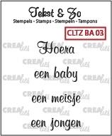 Crealies Clearstamp Tekst&Zo Baby 3 (NL) CLTZBA03