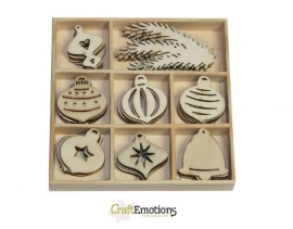 CraftEmotions Houten ornamenten Purple Holiday - Kerstballen stuks