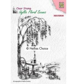 Nellie's Choice - clearstamp - Outside seating with tree