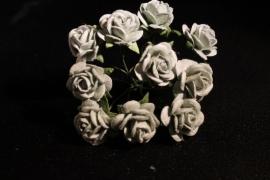 WILD ORCHID CRAFTS - MULBERRY PAPER OPEN ROSES 15 mm - Dove Grey - bosje met 10 stuks
