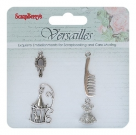ScrapBerry's - Metal charms set Versailles, 4 stuks