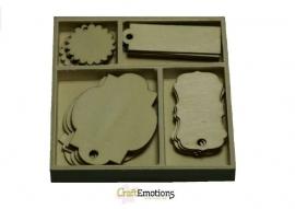 CraftEmotions Houten ornamenten - Labels 20 stuks