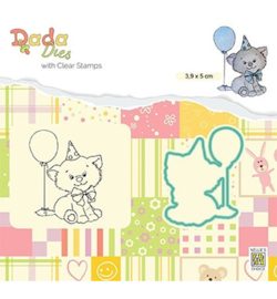 Nellie's Choice - Dada dies and clearstamps -  Birthday Kitten