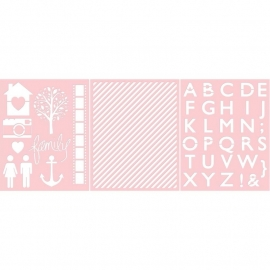 Basically Essential Stencils Family, Diagonal Stripe, Alphabet  3 stuks