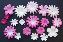 WILD ORCHID CRAFTS - MULBERRY PAPER BLOOMS - 20 stuks Assorti Roze/Wit  2 cm  - 5 cm
