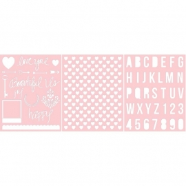 Basically Essential Stencils Love You & Beautiful Us, Heart, Alphabet 3 stuks
