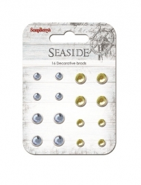 "ScrapBerry's - Set of brads ""Seaside"", sand and blue, 16pcs"