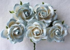Trellis Roses - 2-tone Steelblue/White