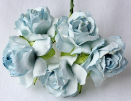 WILD ORCHID CRAFTS - Pale Blue Paper Wild Roses 30mm - 5 stuks