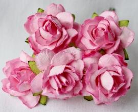 WILD ORCHID CRAFTS - 2-Tone Pink Paper Wild Roses 30mm - 5 stuks