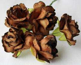WILD ORCHID CRAFTS - Brown Paper Wild Roses 30mm - 5 stuks