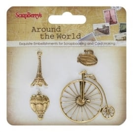 ScrapBerry's - Metal charms set Around the World 2, 4 stuks