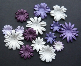 WILD ORCHID CRAFTS - MULBERRY PAPER BLOOMS - 20 stuks Assorti Paars/Wit 2 cm - 5 cm