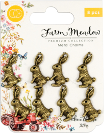 Craft Consortium - Farm Meadow - Rabbits-  Metal Charms