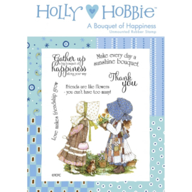 Holly Hobbie A6 unmounted rubberenstempel - A Bouquet of Happiness (Een boeket van geluk)