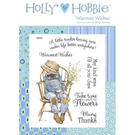 Holly Hobbie A6 unmounted rubberenstempel - Warmest Wishes (Hartelijke wensen)