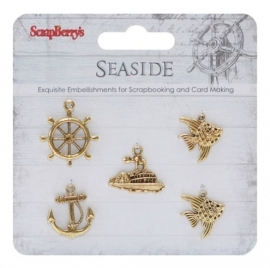 ScrapBerry's - Metal charms set SeaSide, 5 stuks