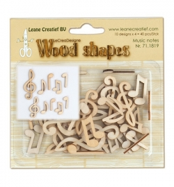 Leane Creatief - Wood Shapes - Musical Notes