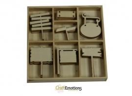 CraftEmotions Houten ornament - Wegwijzers 35 stuks