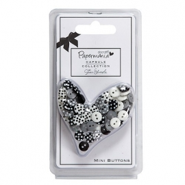 Papermania - Capsule Polka Mini Buttons - Bexley Black