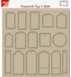 Joy!crafts - Polybesa Scrap stencil - Noor - Tags and Labels