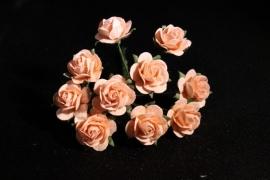 WILD ORCHID CRAFTS - MULBERRY PAPER OPEN ROSES 15 mm Peach - bosje met 10 stuks