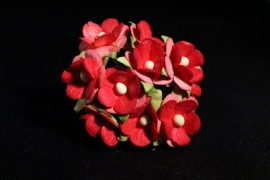 WILD ORCHID CRAFTS - SWEETHEART BLOSSOM 2-TONE RED 15 mm - bosje met 10 stuks