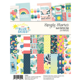 """Simple Stories -  Sunshine and Blue Skies- Double-Sided Paper Pad 6""""X8""""- 24 vel"""