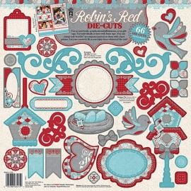 Hot Off The Press - Robin`s Red Die-cuts 2 sheets, 66 stuks
