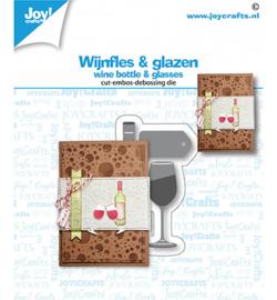 Joy!crafts - Stans-embosmal - Wijnfles & glazen