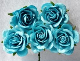 Trellis Roses - Skyblue