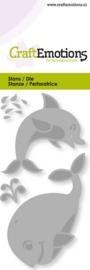 CraftEmotions - Die - Dolfijn, walvis - Card 5x10cm